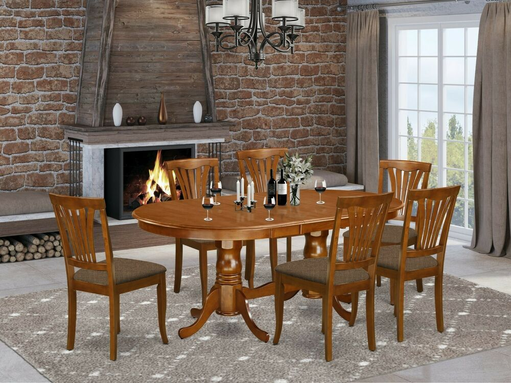 7pc oval dinette kitchen dining set table w 6 upholstery for Kitchen table set 6 chairs