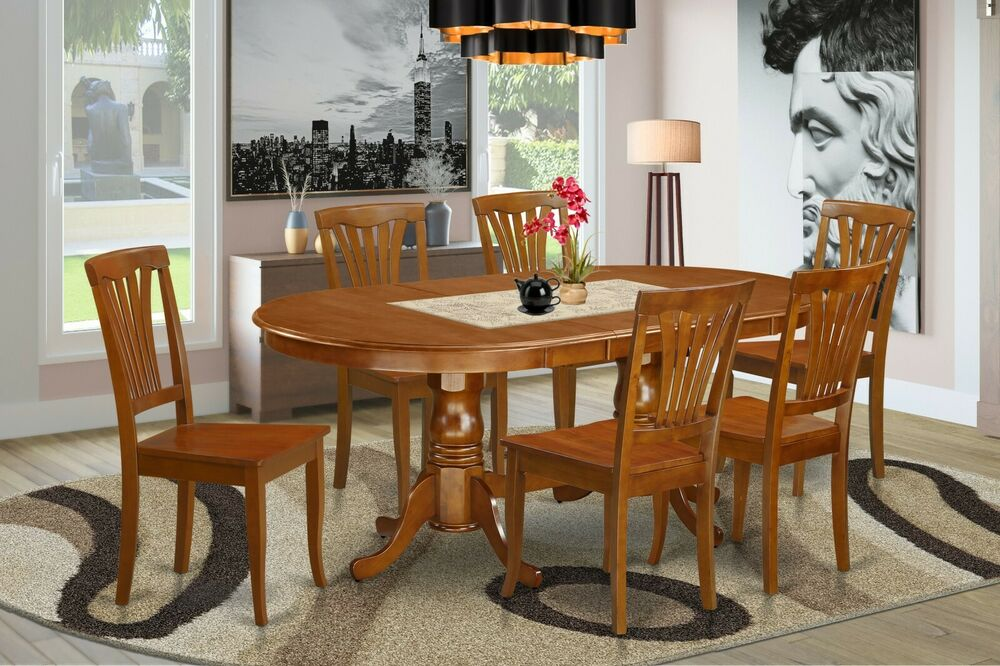 7pc oval dinette kitchen dining set table w 6 wood seat chairs in saddle brown ebay. Black Bedroom Furniture Sets. Home Design Ideas