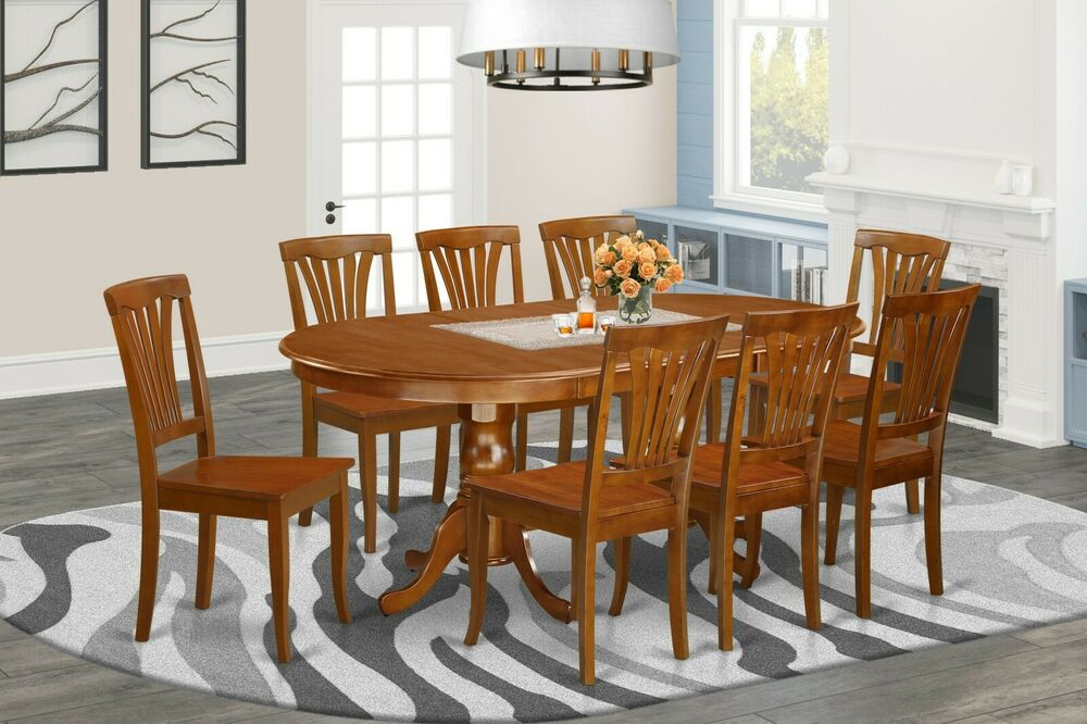 9pc oval dinette kitchen dining set table w 8 wood seat chairs in saddle brown ebay. Black Bedroom Furniture Sets. Home Design Ideas