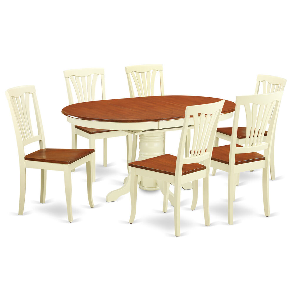 7pc oval dinette kitchen dining table w 6 wood seat