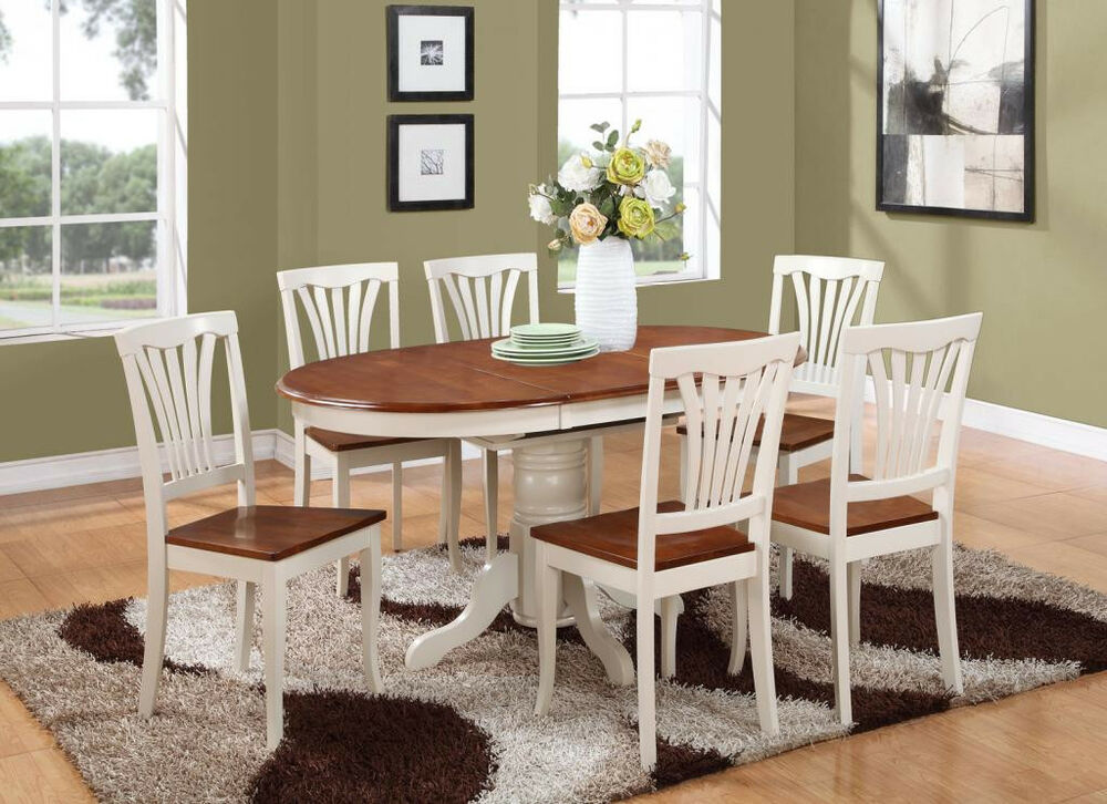 5pc oval dinette kitchen dining table w 4 wood seat chairs buttermilk cherry ebay - Oval kitchen table sets ...