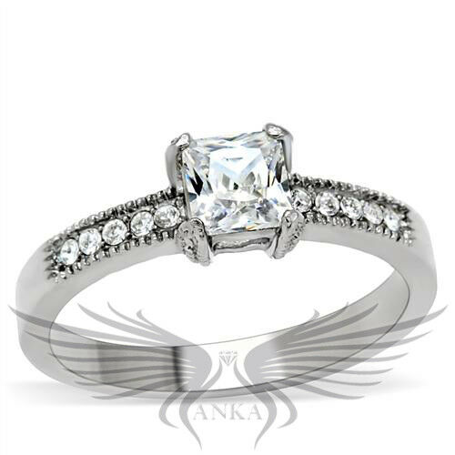 Princess solitaire engagement russian lab created sim for Lab created diamond wedding rings