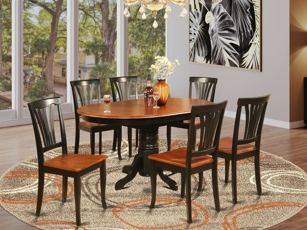 7pc avon oval kitchen dining table w 6 wood seat chairs for Black wood dining table