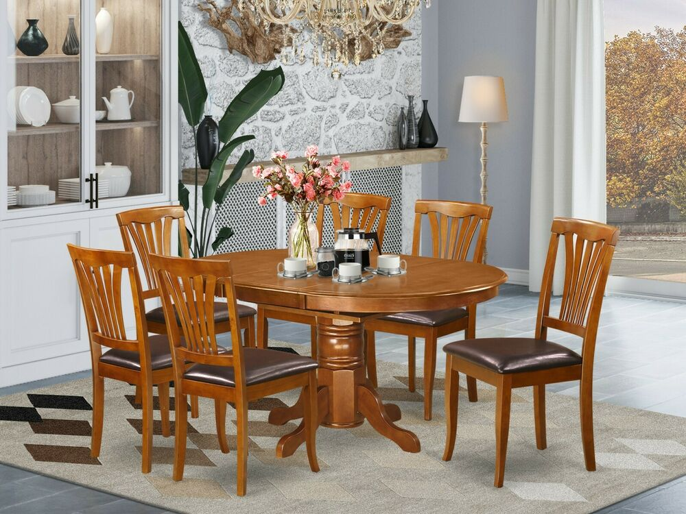 kitchen dining table w 6 leather seat chairs in saddle brown ebay