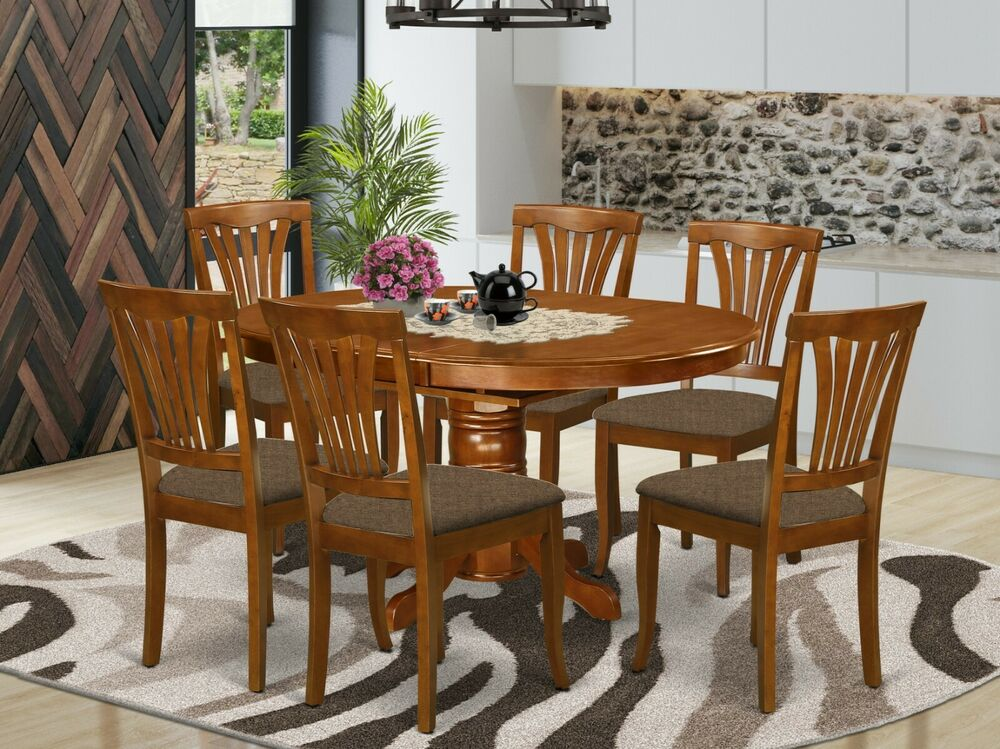 7 pc avon oval dinette kitchen dining table w 6 upholstered chairs saddle brown ebay. Black Bedroom Furniture Sets. Home Design Ideas