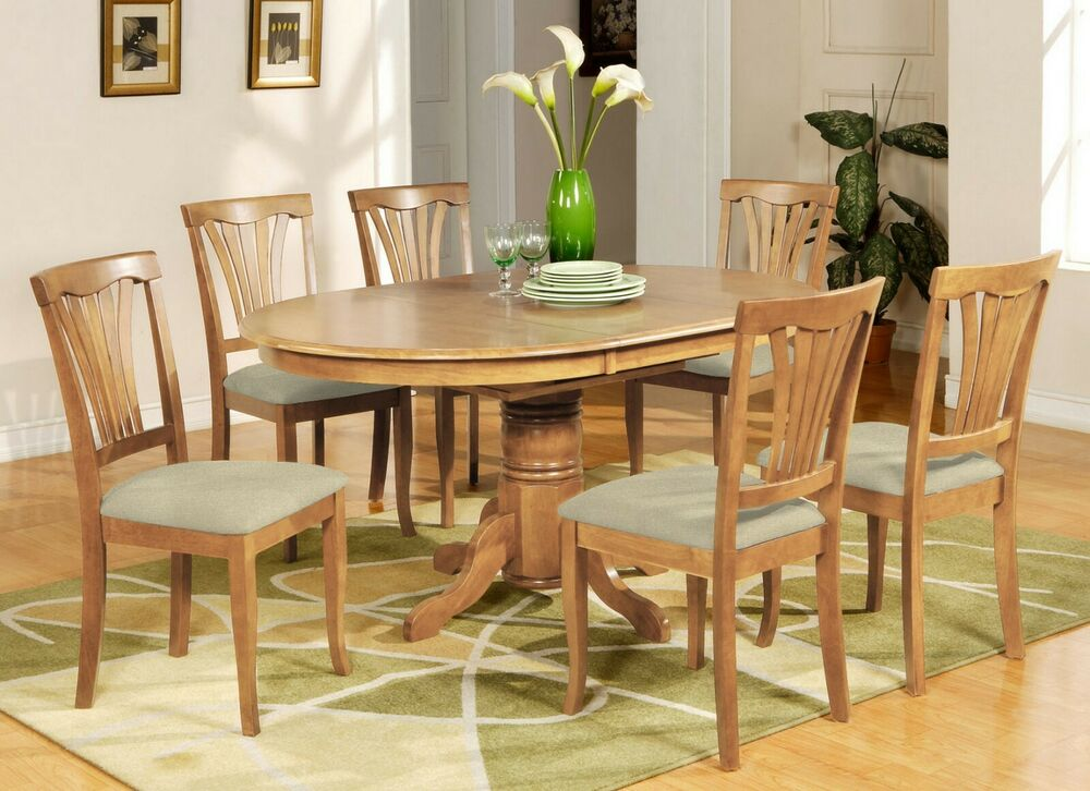 7 Pc Avon Oval Dinette Kitchen Dining Table W 6 Upholstery Chairs In Light Oak Ebay