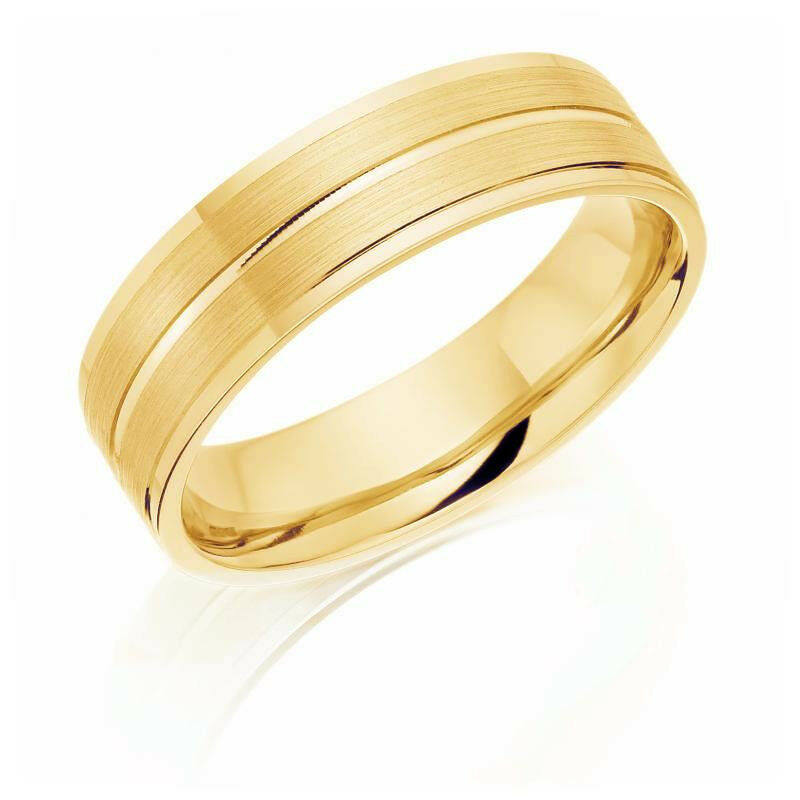 Yellow Gold Wedding Rings Hallmarked Three Diamond Cut Tram lines