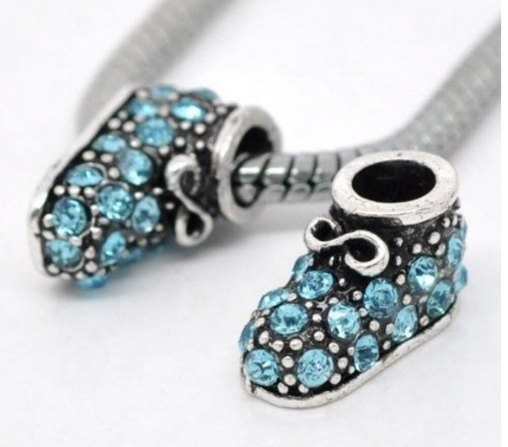 Silver Blue Baby Boy Shoe Charms Bead For Charm Bracelets