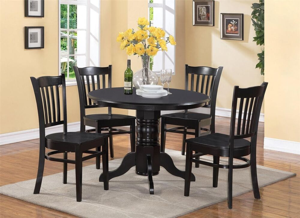 5 pc shelton round dinette kitchen table with 4 wood seat for Black dining sets with 4 chairs