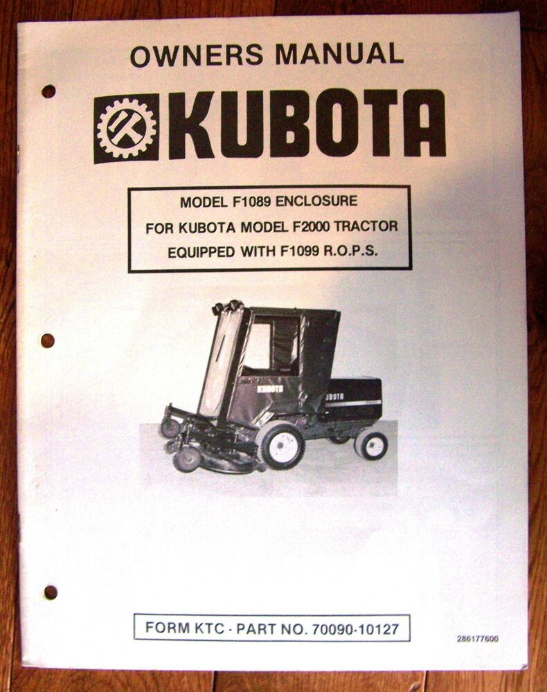 Kubota Tractor Owners Manual : Owners manual for kubota f front mower cabin cab