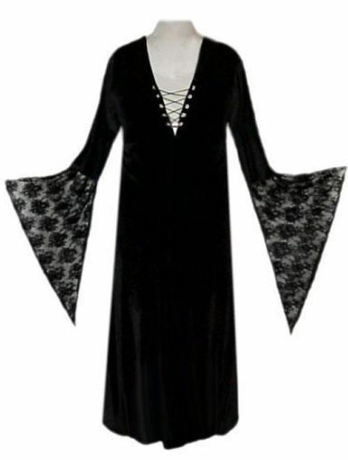 Plus Size Sexy Black Velvet Lace Up Dress Witch Costume Gothic Short ...