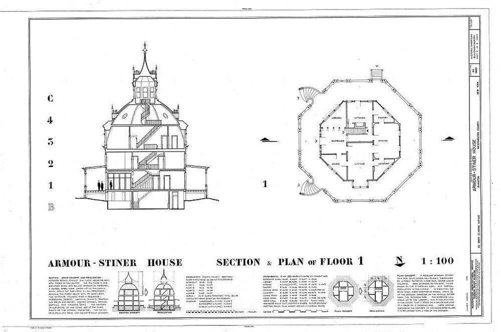 Rare victorian octagon house plan many bedrooms porch for Octagonal house designs