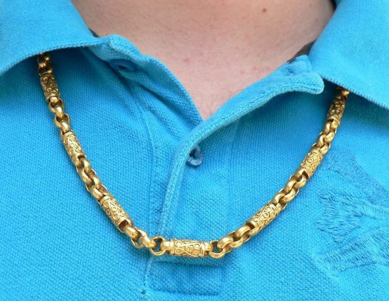 Incredible Heavy Mens 24k Gold Necklace 26 Inch 131 6 G Ebay