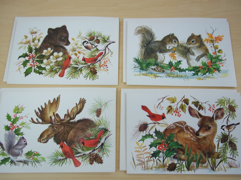4 vintage nature wildlife christmas cards sunshine