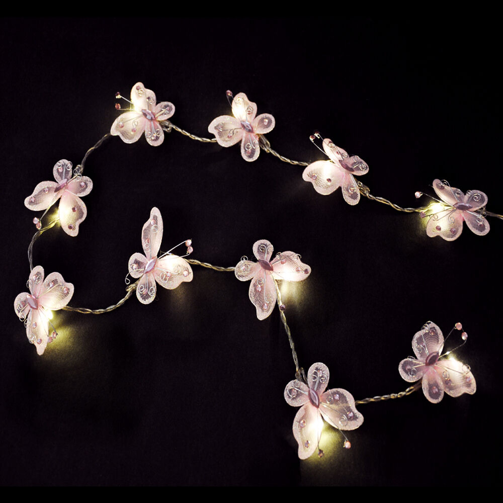 Pink String Lights Battery Operated : Pair of Battery Operated Pink Butterfly Girls LED Chain Fairy String Lights Set eBay