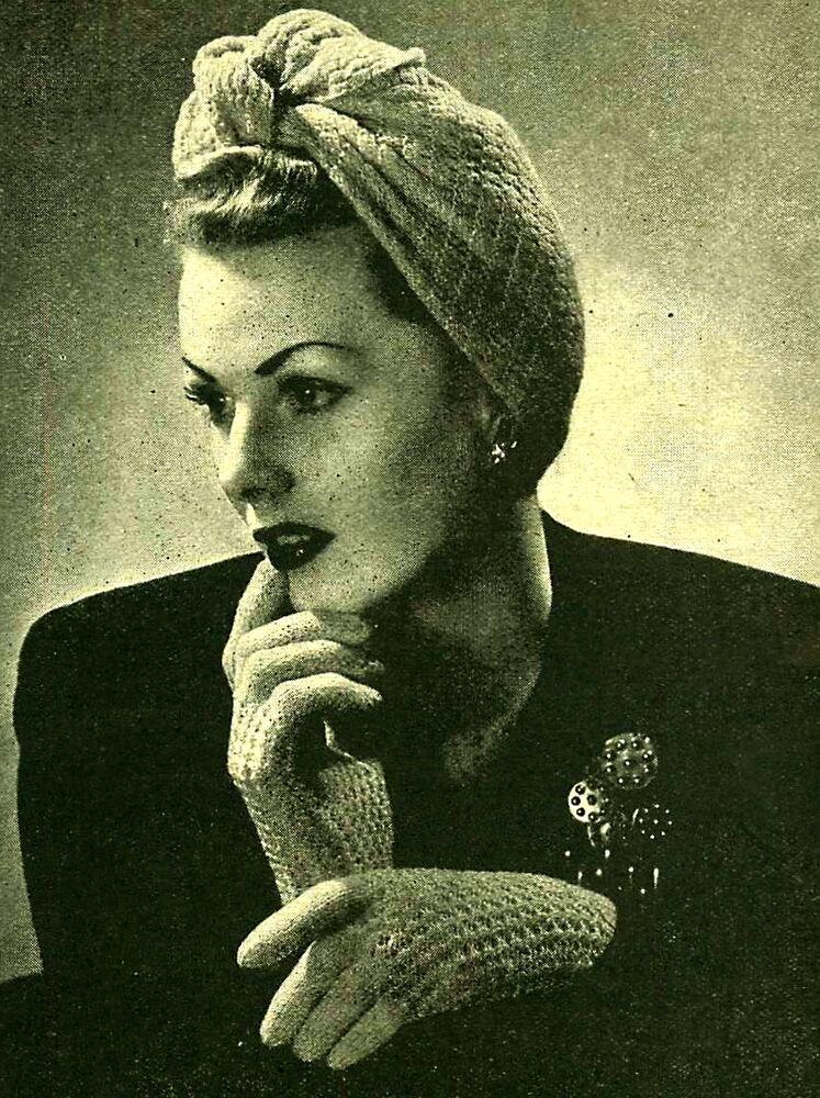 Wartime Knitting Patterns : Vintage knitting pattern- how to make this wartime 1940s Turban hat & glo...
