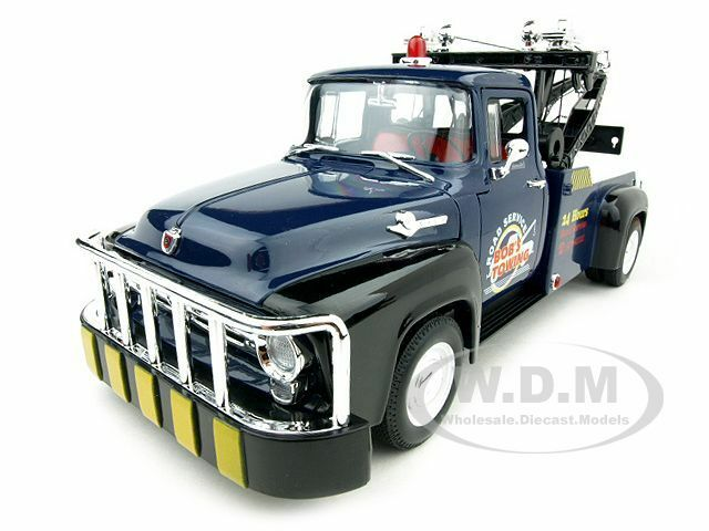 1956 ford f 100 tow truck bob 39 s towing blue 1 18 diecast for Ebay motors tow trucks