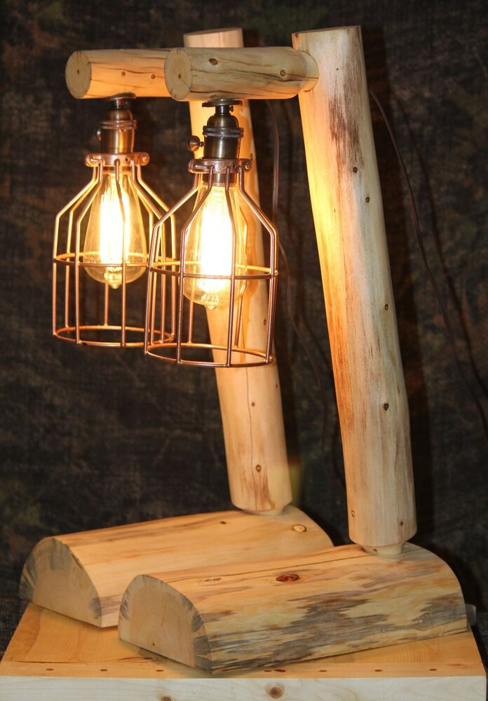 Rustic Log Lamps Lodge Western Vintage Log Cabin