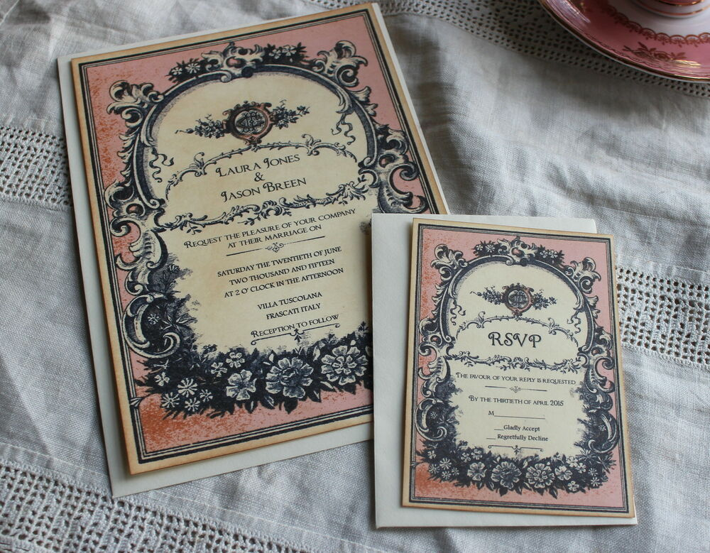Invitation Cards For Wedding: WEDDING INVITATION-RSVP CARD-Vintage Style-Perfume Label