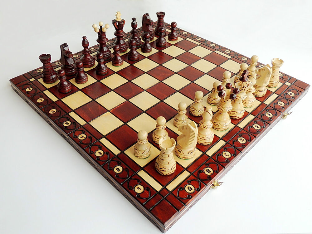 Brand new large handcrafted sycamore ambassador wooden for Hand crafted chess set