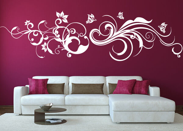 wandtattoo floral ornament wandaufkleber wallart schlafzimmer tattoo deko wa 091 ebay. Black Bedroom Furniture Sets. Home Design Ideas