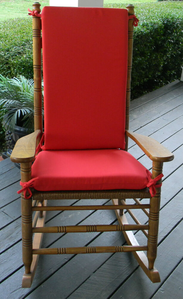 Red Outdoor Rocker Rocking Chair 2 PC Cushion Pad Fits Cracker Barrel Rocke