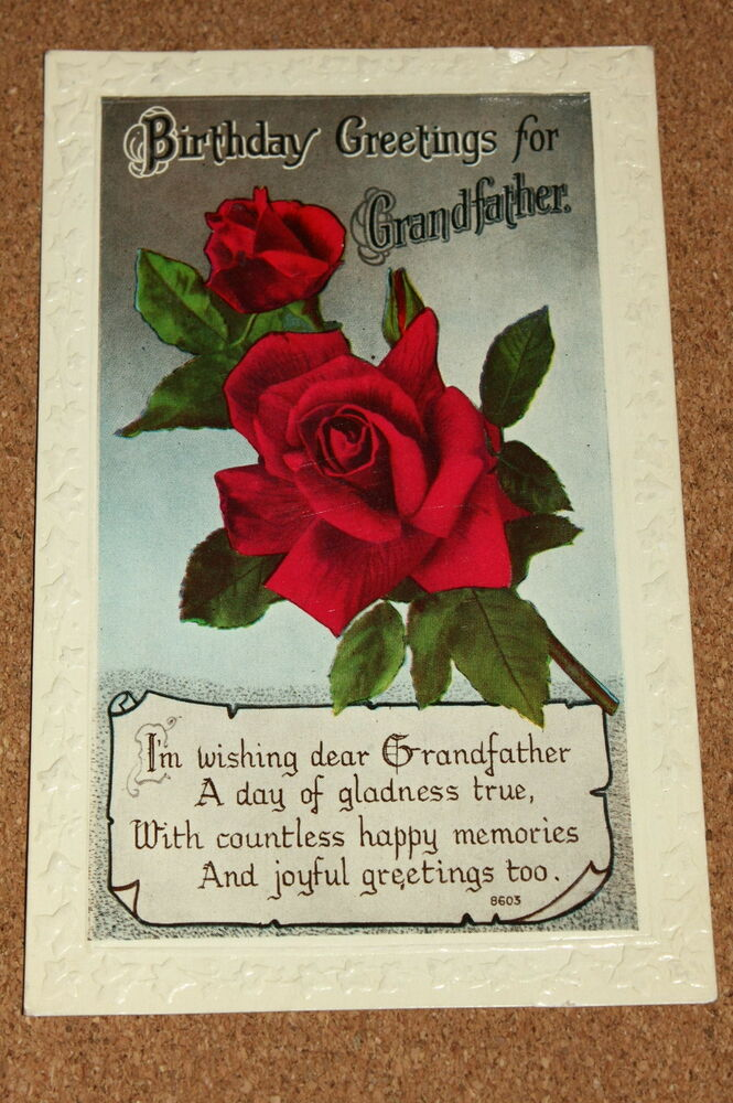 Details About Vintage Postcard Birthday Greeting For Grandfather Red Roses Flowers