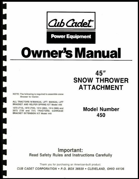 cub cadet 45 quot  snow thrower attachment owners manual model cub cadet snow blower manual 3 stage cub cadet 3x 24 snowblower manual
