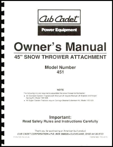 cub cadet 45 quot  snow thrower attachment owners manual model cub cadet snow blower manuals cub cadet snow blower manuals