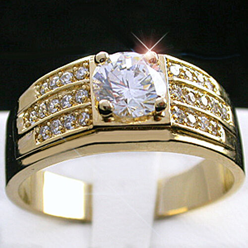 Mens 1 1ct Created DIAMOND 14k GOLD Layered Ring LIFETIME GUARANTEE