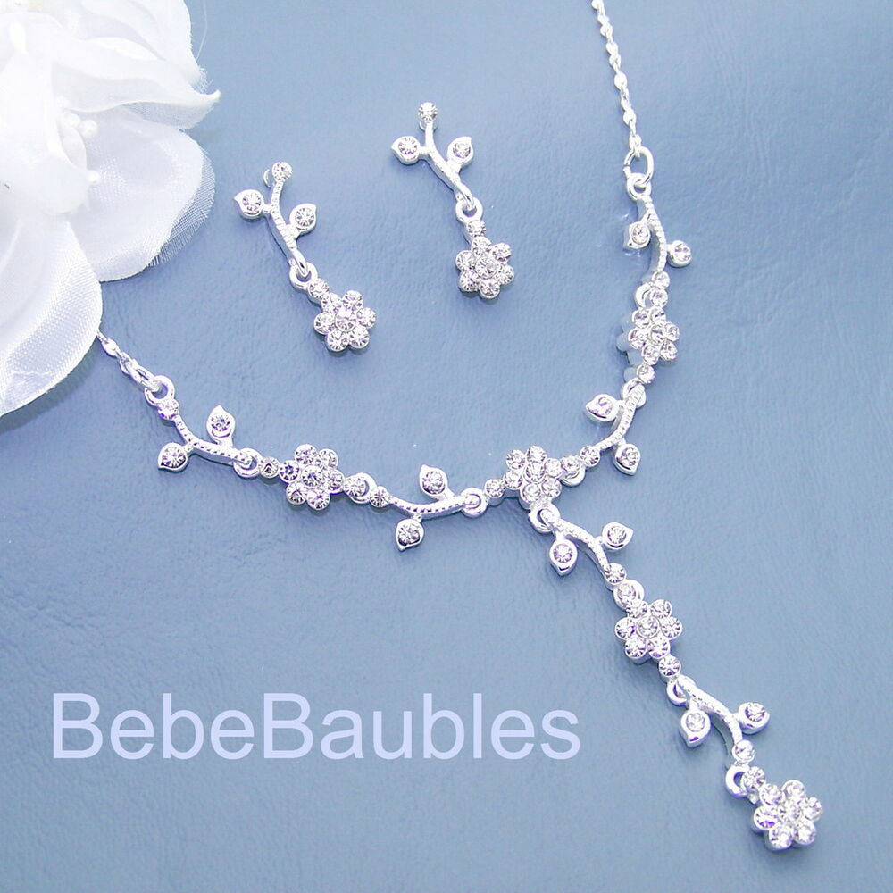 Bridal Jewelry Gift Sets : FIVE Necklace Sets Bridal Bridesmaid Wedding Gift Prom Crystal Jewelry ...