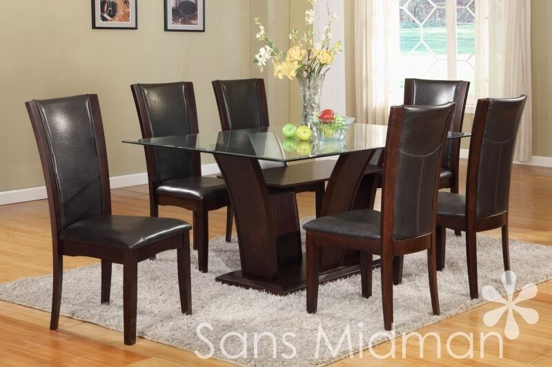 New pc espresso or white cameo dining set w glass table