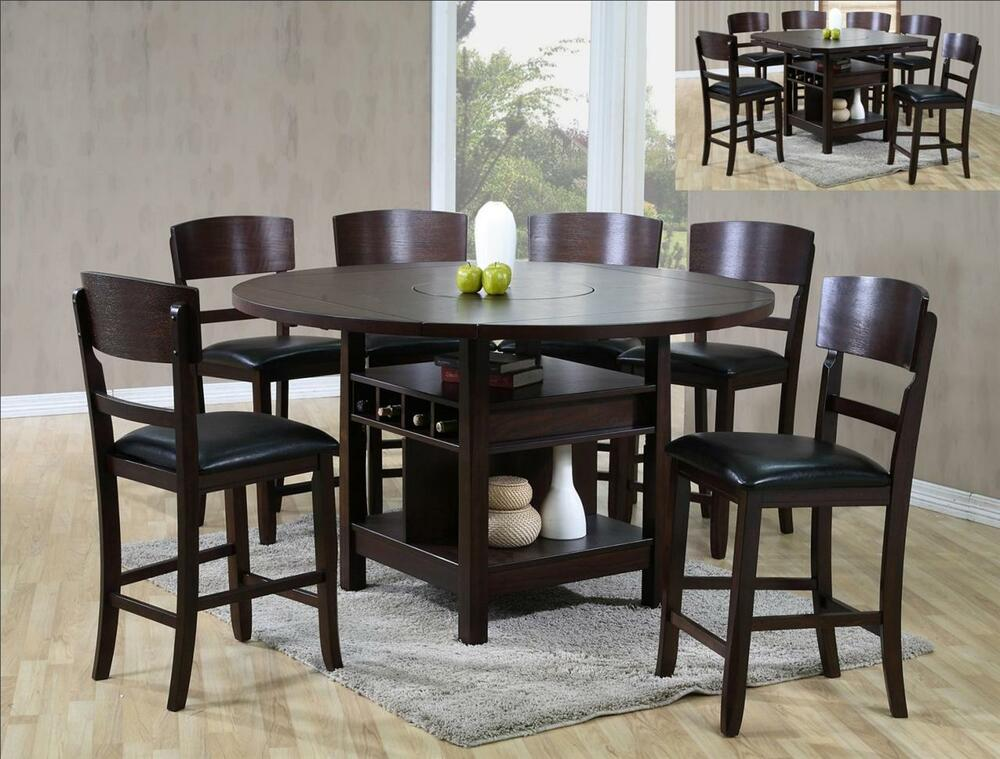 Susanna 7 Pc Counter Height Espresso Dining Table W Lazy Susan 6 Chairs