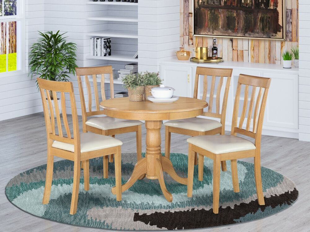 5pc dinette kitchen dining set table with 4 faux leather for Leather kitchen table chairs