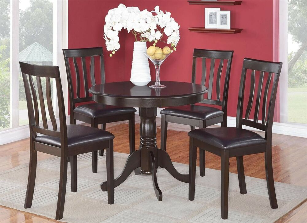 3PC DINETTE KITCHEN DINING SET TABLE WITH 2 FAUX LEATHER SEAT CHAIRS CAPPUCC
