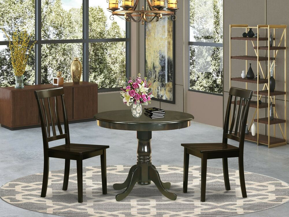 3PC DINETTE KITCHEN DINING SET TABLE WITH 2 WOOD SEAT