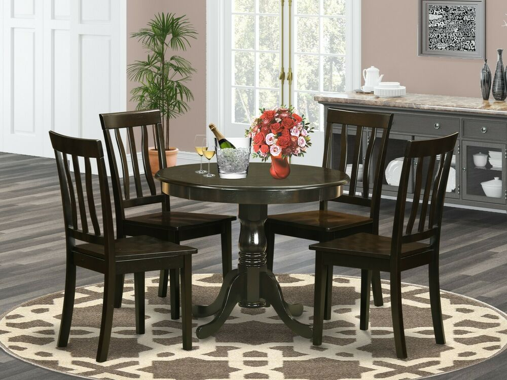 5pc dinette kitchen dining set table with 4 wood seat for Kitchen table with 4 chairs