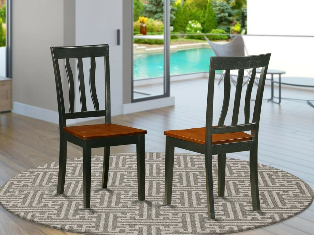 Set of 2 antique dinette kitchen dining chairs w plain for Kitchen dining furniture