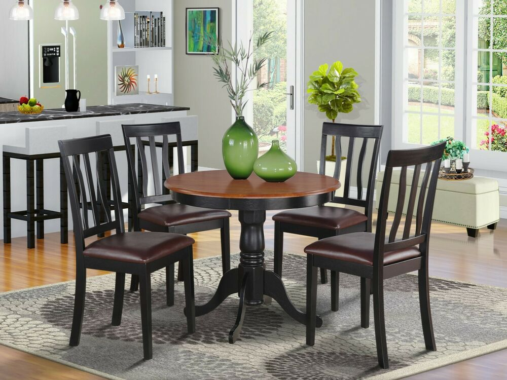 5pc dinette kitchen dining set table with 4 leather chairs for Leather kitchen table chairs