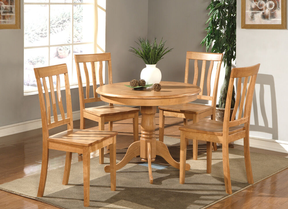 5PC DINETTE KITCHEN DINING SET TABLE WITH 4 PLAIN WOOD ...