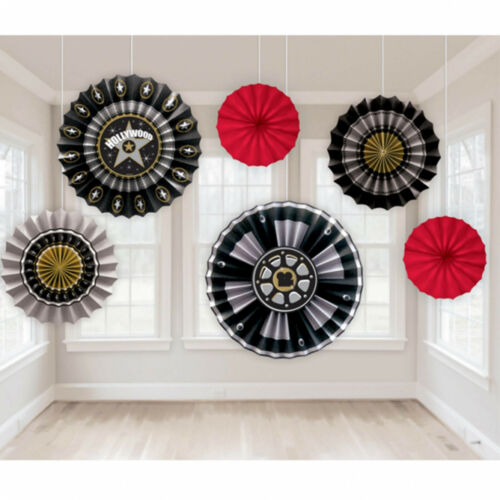 6 Hollywood Star Film Reel Awards Party Hanging Paper Fan Decorations