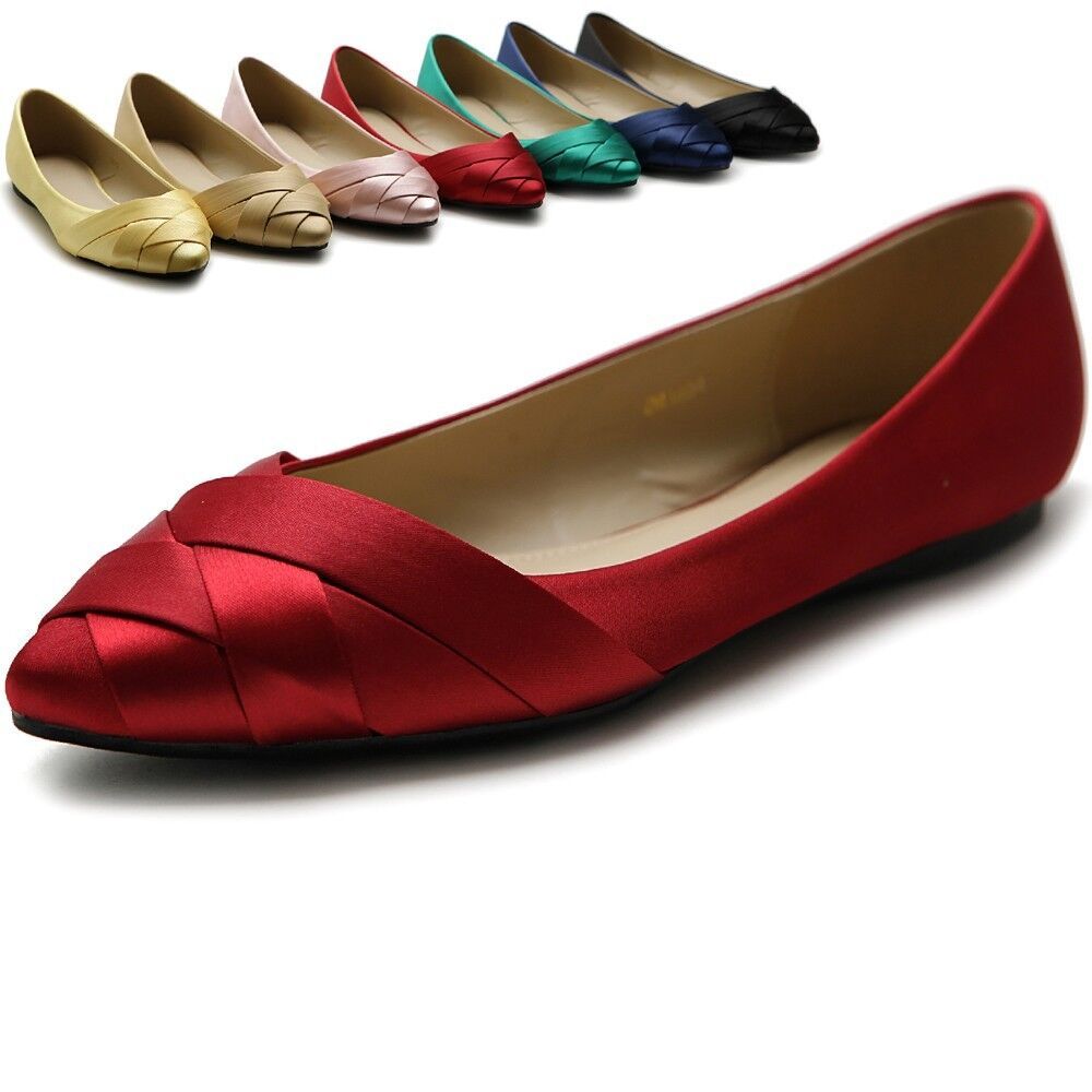 Awesome Elegant Woman Wedding Party Satin Dress Shoes Flats Ladies Pleated