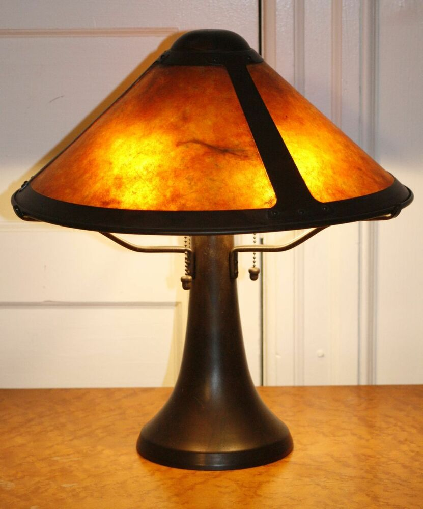 Genuine Mica Lamp Co Large Trumpet Table Lamp Arts