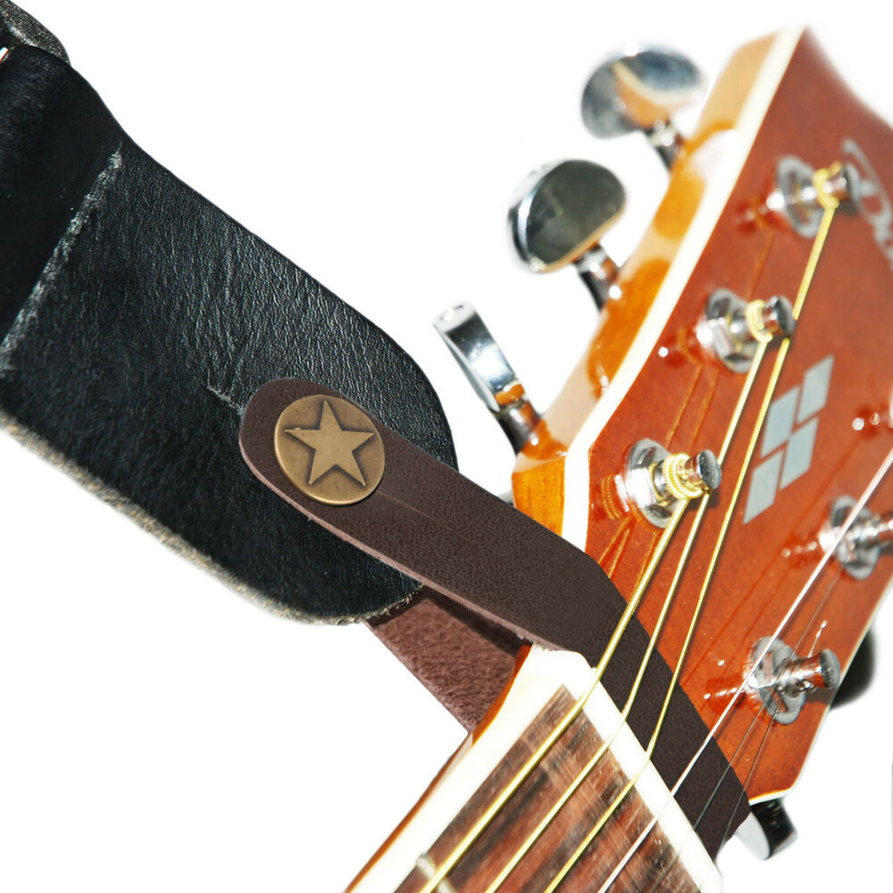 genuine leather guitar strap button for acoustic folk classic guitar brown ebay