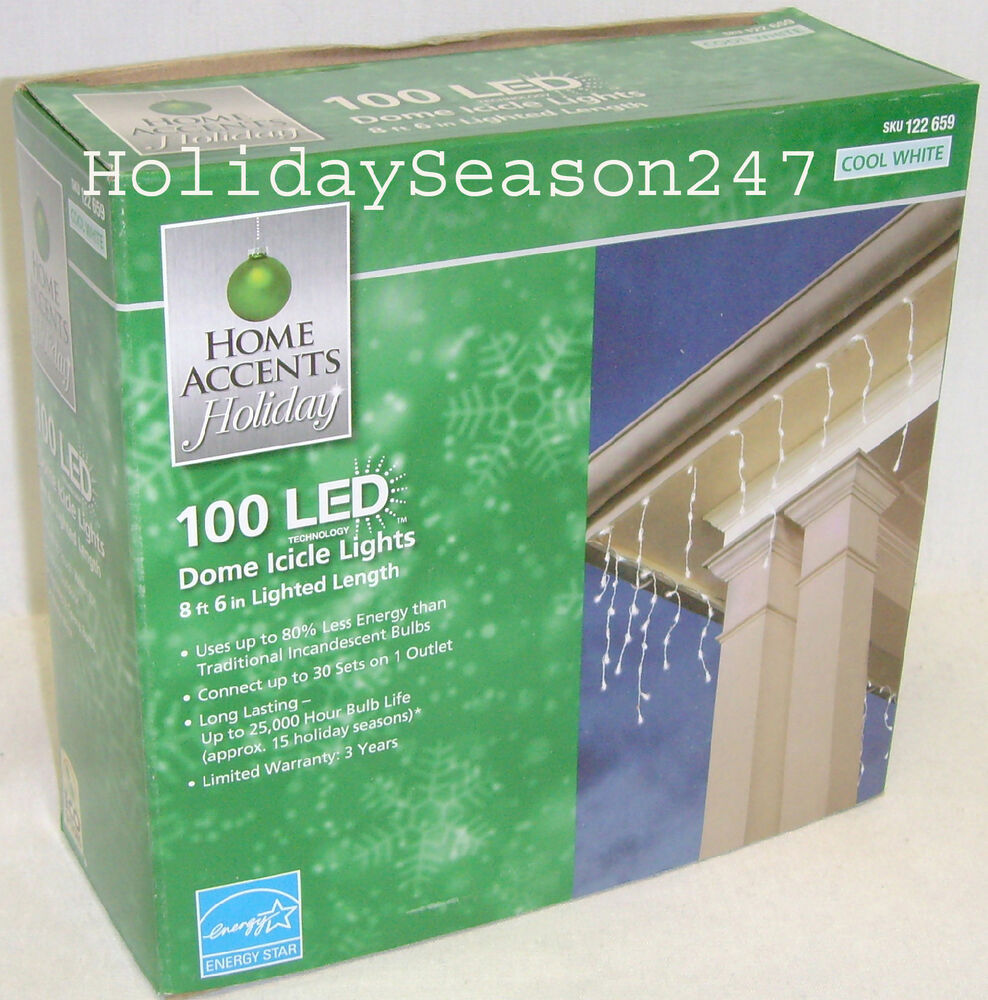 Home Accents 100 LED Dome Icicle Lights Cool White Holiday