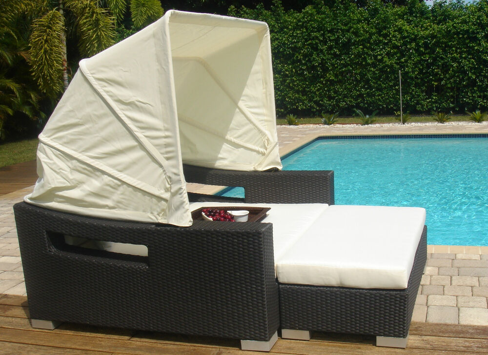 Outdoor pe rattan daybed lounger w canopy garden swimming for Outdoor pool daybeds