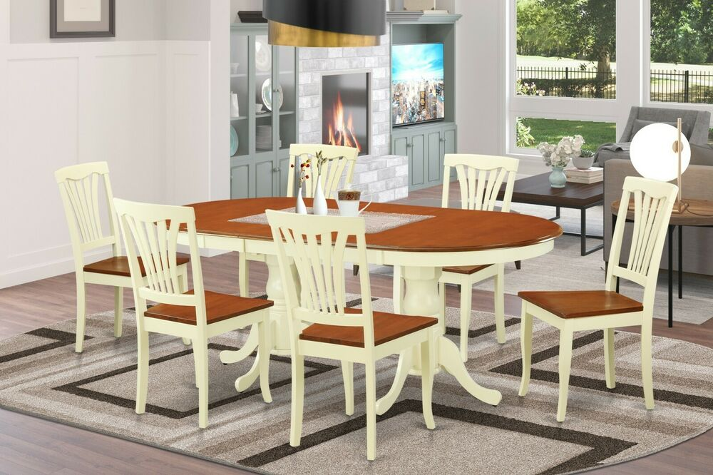 7pc Oval Dinette Dining Room Set Table W 6 Wood Seat