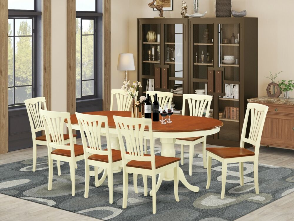 9PC OVAL DINETTE DINING ROOM SET TABLE W 8 WOOD SEAT CHAIRS BUTTERMILK