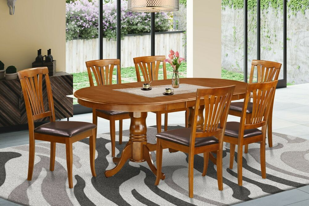 7 pc oval dinette dining room set table w 6 leather seat chairs in saddle brown ebay - Pc dining room set ...