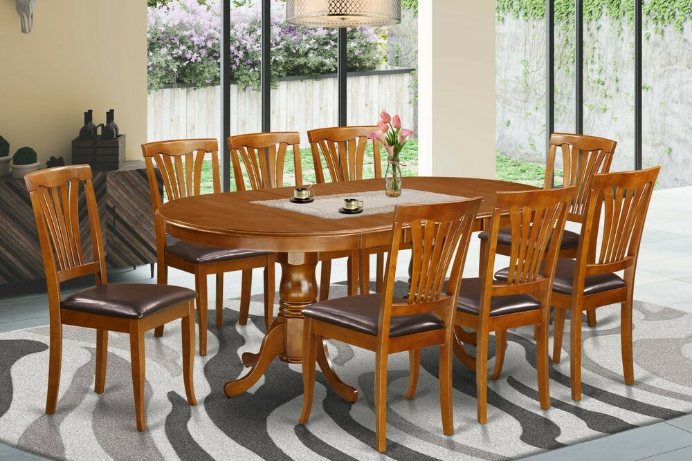 9 Pc Oval Dinette Dining Room Set Table W 8 Leather Seat Chairs In Saddle Brown Ebay